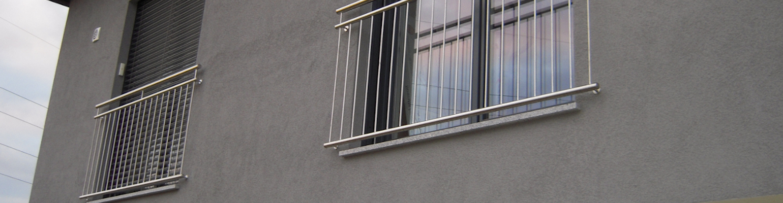 Zwei französische Balkone aus Edelstahl
