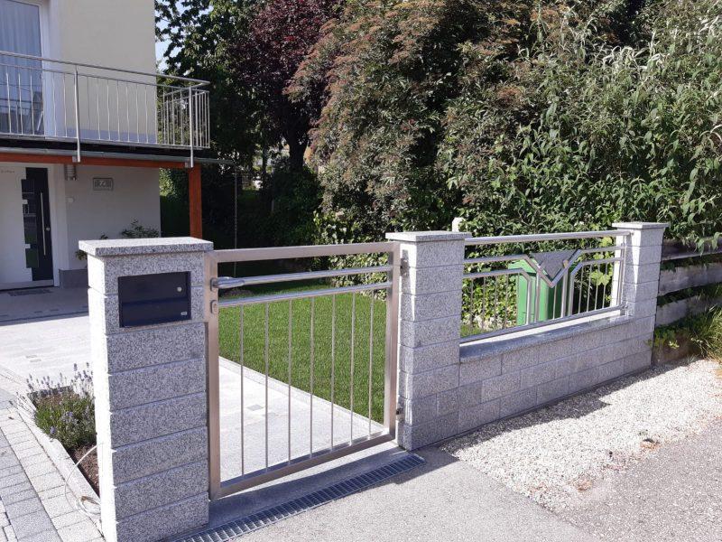 Gartentüre aus Edelstahl mit Sprossen (12)